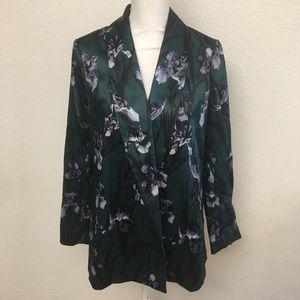 H&M Dark Green Satin Moody Satin Floral Bl…